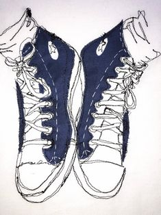 Sneakers - appliqué, thread sketch, Free Motion Embroidery, canvas mounted, ready to hang Free Motion Embroidery, Machine Embroidery, Embroidery Sneakers, Sneakers Sketch, Sketch Free, Fantasy Life, Sketching, Converse Chuck Taylor, Embroidery Designs