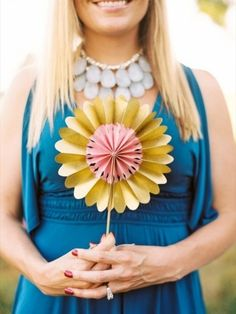 Bridesmaids Inspiration: Cute idea: have bridesmaids carry fans or paper flowers instead of a bouquet! (Photo: Perry Vaile Adams via Every Last Detail) #paper #flowers #fan #necklace #sleeves