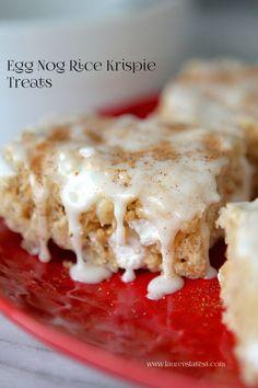 Egg Nog Rice Krispie Treats!  Yummy holiday twist on a classic!