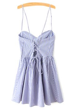 Fitting Striped Spaghetti Straps Sleeveless Dress