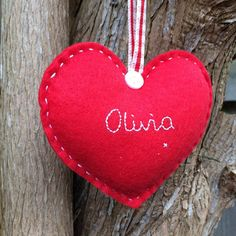These are personalised felt hearts measuring approximately 4 x 3.5, they are hand embroidered and padded finished with a ribbon loop for hanging and a button. They are made to order and can be personalised in several ways: 1 or 2 names Mr & Mrs, Mr & Mr Mrs & Mrs Name and date Babys 1st (occasion type) Bridesmaid, Flowergirl etc. The hearts are perfect for Christmas (tree) decorations, wedding favours or gifts, births, decadent gift tags or just to add a personal touch to yo...