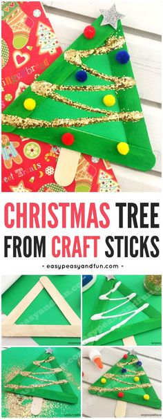 Simple Christmas Tree Craft for kids made from construction paper and craft sticks! A fun open ended craft for kids during the holidays!  #christmascrafts #holidaycrafts