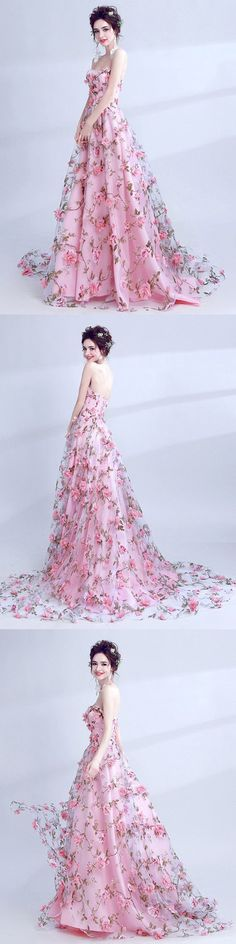 2018 A Line Prom Dress Pink Lace Flower Long Prom Dress