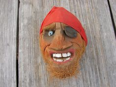 Carved Coconut Shell Pirate Head Souvenir Hand by Luckytage, Coconut Head, Pirate Crafts, Stage Background, Red Bandana, Beach Crafts, Easy Paintings, Pirates, Shells, Projects To Try