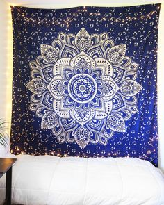 Navy Blue & Sparkly Gold Mandala Tapestry More