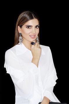Σκουλαρίκια: Silver 925 Hematite & Natural Pearls  Δαχτυλίδι: Silver 925 Black Quartz Black Quartz, Ruffle Blouse, Pearls, Natural, Silver, Accessories, Jewelry, Tops, Women