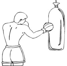 The Man Exercises Boxing Coloring Page