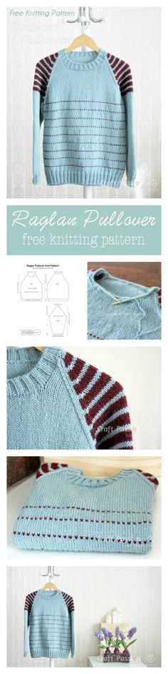 Raglan Pullover Free Knitting Pattern is part of Useful crafts Knitting Patterns - Get free knitting pattern of Raglan Pullover with stripes on shoulder Sizes 48 and 56 inch chest measurements, unisex, suit men & women Sweater Knitting Patterns, Free Knitting, Knit Patterns, Knitting Sweaters, Loom Knitting, Stitch Patterns, Raglan Pullover, How To Purl Knit, Knit Or Crochet