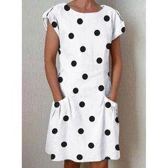 9c2f0dd10f27 Polka Dot Crew Neck Women Dresses