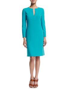 Long-Sleeve Split-Neck Tunic Dress, Aqua by Michael Kors Collection at Neiman Marcus.
