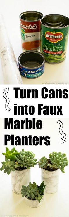 Turn cans into faux marble planters in less than five minutes!! Such an easy DIY, why didn't I think of this earlier?