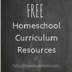 Huge list of FREE curriculum resources. So many categories to choose from!