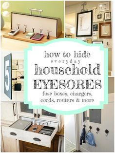 How to hide household eyesores -- breaker boxes, electronics + chargers, and more. Tips from @Remodelaholic #spon #clutter #decorating