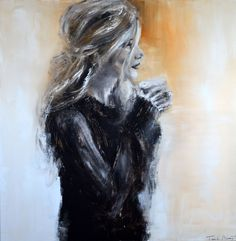 Isabelle Bossuyt | HAVING A COFFEE 100x100 cm