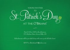 St Pattys Party St. Patrick's Day Party Invitation