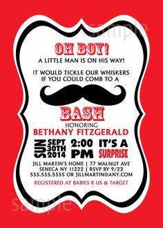 Mustache Boy Baby Shower Invitation / digital printable file / any color / uprint. $16.00, via Etsy.