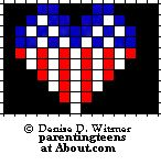 Patriotic Heart Pattern I would do 13 Across / 10 Down Safety Pin Art, Safety Pin Crafts, Safety Pin Jewelry, Safety Pins, Pony Bead Patterns, Perler Patterns, Beading Patterns, Stitch Patterns, Fuse Beads