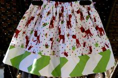Girls Christmas Skirt Reindeer Skirt Chevron Skirt by SewShellz, $19.00