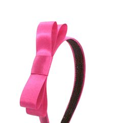 Satin Headband with Big Bow - Magenta