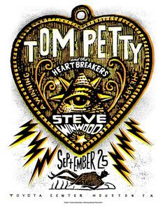 FEW LEFT Tom Petty and the Heartbreakers with Steve Winwood 2014 Tour Screenprinted Poster Tour Posters, Band Posters, Music Posters, Screen Print Poster, Poster Prints, Gig Poster, Rock And Roll Artists, Toyota Center, Steve Winwood