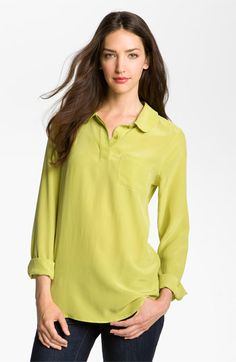 Merge this with a brown jegging. I suggest Vince Camutos and a brown boot or bootie. Brown Hair Green Eyes, Green Hair, Equipment Blouse, Work Tops, Classy And Fabulous, Brown Boots, Get Dressed, Nordstrom, Tunic Tops