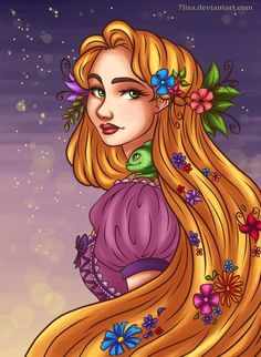Rapunzel with flowers in her long golden hair and Pascal the chameleon on her shoulder Rapunzel Characters, Disney Movie Characters, Best Disney Movies, Disney Fan Art, Disney Love, Disney Stuff, Disney And Dreamworks, Disney Pixar, Floating Lanterns