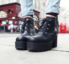 NEW Women's Black Punk lace up Chunky platform Heels Platform Ankle Boots shoes #KMYM #FashionAnkle
