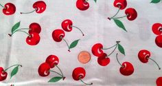 x red cherries with blue border on one side. awwwesome cross over appeal to French country and would be perrrfect for kitchen curtains! Vintage Curtains, Kitchen Curtains, Vintage Table, Tablecloths, Country Kitchen, Cherries, French Country, Linens, Baby Items