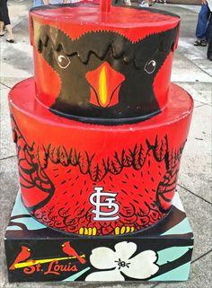"STL250 Artist, Katherine Nelson's ""Cardinal Cake"" © 2014  cake in front of Busch stadium."