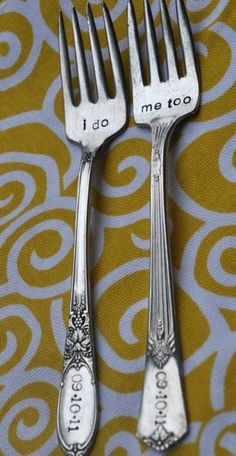 Wedding forks- I found these here & thought there were such a great idea. So I plan on finding the perfect pair in an antique store and then have them engraved.