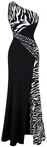 Angel-fashions Women's One Shoulder Zebra Gemstones Splicing Evening Dress ** Read more reviews of the product by visiting the link on the image.