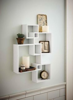 Amazon.com: Shelving Solution Intersecting Decorative White Color Wall Shelf, Set of 4, 2 Candles Included: Home & Kitchen