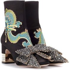 Gucci Embroidered Satin Ankle Boots
