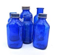 Antique Cobalt Blue Bottles Instant Collection by worldvintage