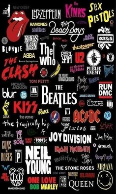 STICKER with ICON BANDS Led Zeppelin Who Kiss Guns Pink Floyd Doors Beatles