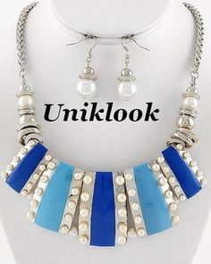 Chunky Blue Silver Tone & faux Pearl Statement fashion jewelry Necklace Earrings