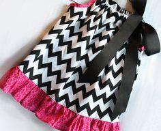 Black Chevron Pink Ruffled Pillowcase Dress - MADE TO ORDER - EtsyKids Team