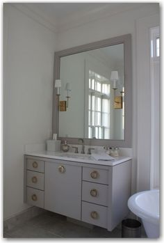 The Painted House: Cabinet color: BM Cumulus Cloud / Hardware: www.lookintheattic.com.   Cambria quartz in White Cliff