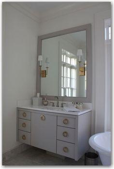 The Painted House: Cabinet color: BM Cumulus Cloud / Hardware: www.lookintheattic.com.   Cambria quartz in White Cliff
