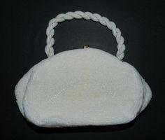 Vintage White Beaded WALBARG made in Taiwan bag clutch evening bag #WALBARG #EveningBag