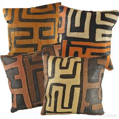 Bakuba Cloth Pillow  Bakuba cloth is a centuries-old style of embroidered textile from central Africa characterized by abstract geometric designs, and used by tribal leaders as a sign of diplomacy. For these pillows, artisans hand weave raffia, naturally dyed in rich earthtone colors, then applique and reverse applique unique designs on the front. Sold separately. Patterns and colors will vary. Solid black reverse with Velcro closure. Includes pillow. #Kenya #Fairtrade www.serrv.org