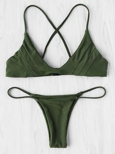 Cross Back Seam Bikini Set