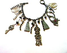 Gothic Glam  Vintage Assemblage  Charm Bracelet  by BootsiesWorld, $38.99