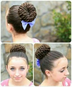 Rope Twisted Pinwheel Bun {includes video tutorial, written instructions, and more photos} Tried this on my hair, turned out VERY beautiful and got many compliments. 5 Minute Hairstyles, Dance Hairstyles, Cute Girls Hairstyles, Pretty Hairstyles, Gymnastics Hairstyles, Wedding Hairstyles, Hair Videos, Hair Designs, Prom Hair
