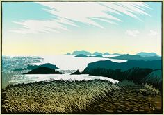 Ian Phillips, Shining Sea from Trelerw, linocut
