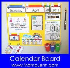 Mama Jenn: Calendar Time- I like how everything flips! Could be a really good visual for the kids... I'd even split the double digit numbers since my kids struggle to understand tens and ones.
