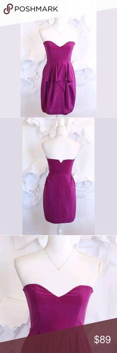 ELLA MOSS Strapless Ruffle Dress S Silk Purple ELLA MOSS Strapless Draped Ruffle Cocktail Dress Sz S 100% Silk Purple Lined  IN EXCELLENT MINT CONDITION! No rips. No stains.  ***IMPORTANT: Please check measurements to ensure proper fit before purchase. Measurements are taken flat on the half.*** Body Length: 27 1/2 inches Bust Width: 15 1/2 inches Waist Width: 13 1/2 inches Size: Small Fabric: 100% Silk Color: Purple WE'D LOVE TO HELP, SO PLEASE LET US KNOW IF YOU HAVE ANY QUESTIONS. THANK…