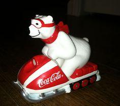 "Coka-Cola (""Always Snowmobiling"") Ceramic Polar Bear Figurine"