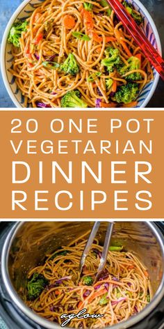 If youre looking for a collection of vegetarian one pot recipes for dinner youve come to the right place! From one pot Mexican rice one pot tomato pasta. Enjoy these 20 One Pot Vegetarian Dinner Recipes. One Pot Vegetarian, Vegetarian Pasta Recipes, Vegetarian Recipes Dinner, Easy Healthy Recipes, Veggie Recipes, Easy Meals, Vegetarian Spaghetti, Vegetarian Sandwiches, Basil Recipes