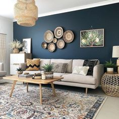 Amazing Blue Living Room Design Ideas - Page 38 of 45 Blue Accent Walls, Dark Blue Walls, Accent Walls In Living Room, Accent Wall Bedroom, Home Living Room, Living Room Designs, Living Room Decor, Blue And Cream Living Room, Beige Sofa Living Room